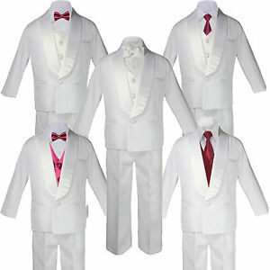 b18a371dd9a9 Boys White Satin Shawl Lapel Suits Tuxedo BURGUNDY Satin Bow Necktie ...