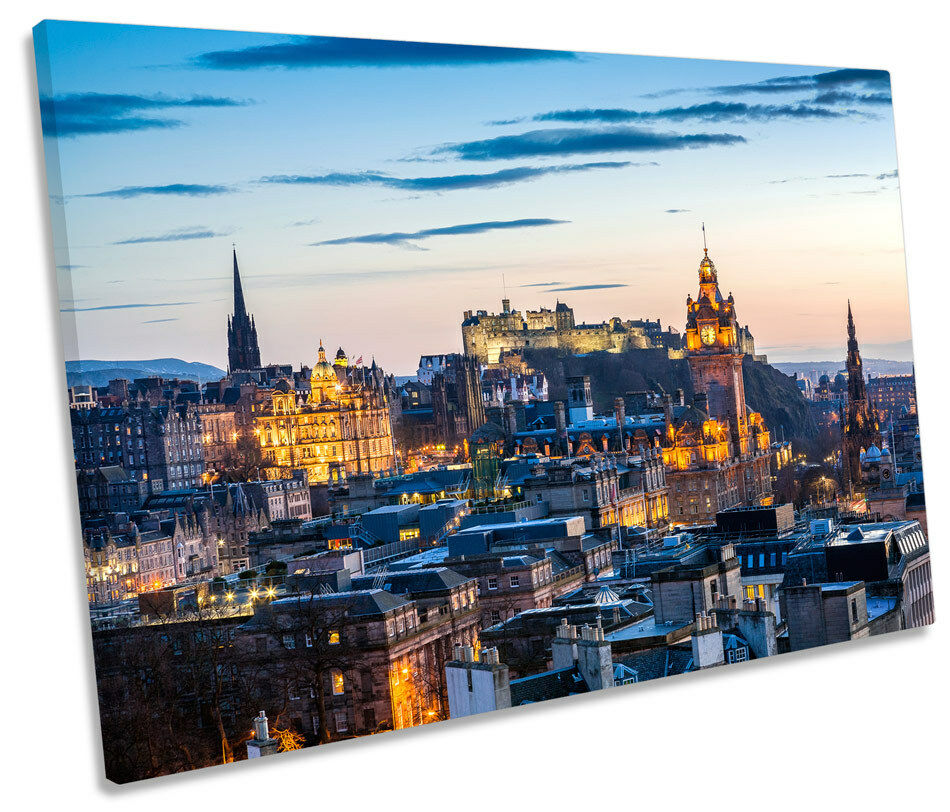 Edinburgh Sunset City Skyline SINGLE CANVAS WALL ART Picture Print
