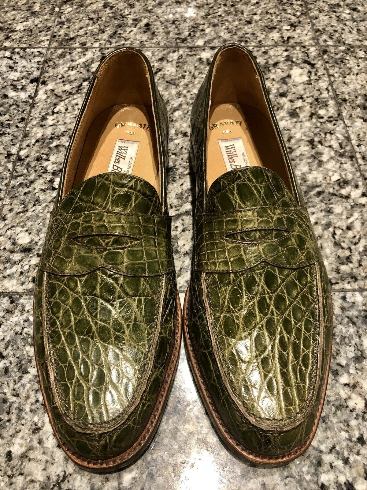Gravati for Wilkes Bashford verde Crocodile Men's Loafers scarpe