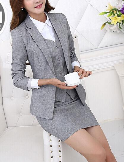 Elegante Dimensioneur completo donna grigio giacca manica lunga gonna Gilet Gilet Gilet 7121 c610e2