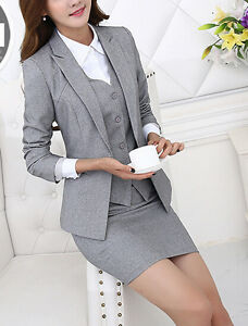 Lunga Giacca Donna Grigio Manica Gonna Gilet Completo Tailleur Elegante 7121 bfvIY6g7ym