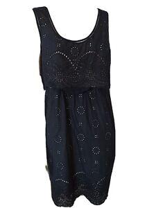 Mint Velvet Black Lace Cotton Dress Size 14 Uk Ebay