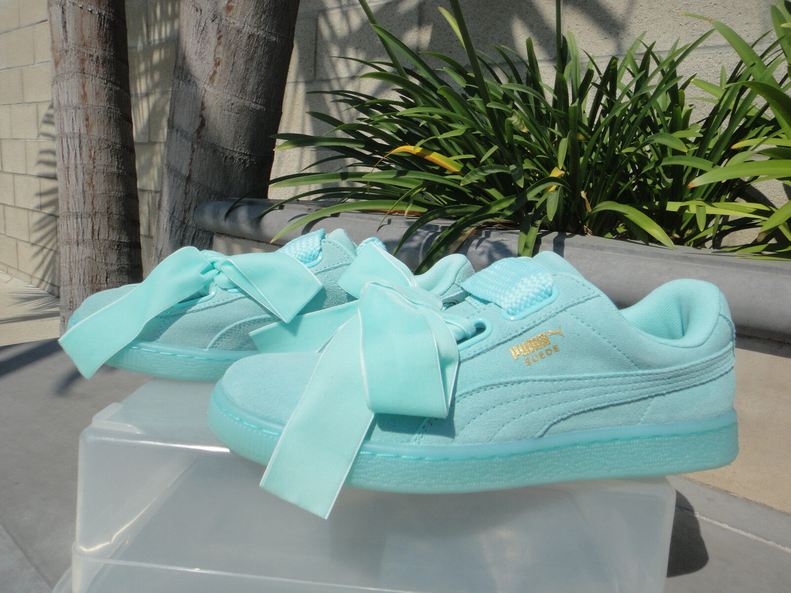 Puma HEART RESET Sneaker, Soft Suede & Wide Velvet Laces, Aruba Blue, Pick Size