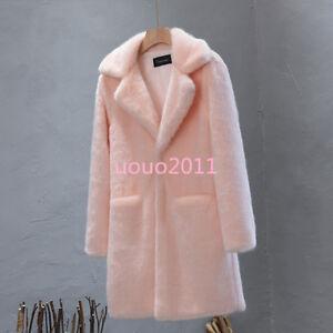 Winter-Women-039-s-Lapel-Collar-Loose-Warm-Fur-Coat-Trench-Jacket-Long-Outwear-Parka