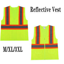 Safety Vest Hi Vis High Visibility Strips Work Reflective Withpockets Zipper Front