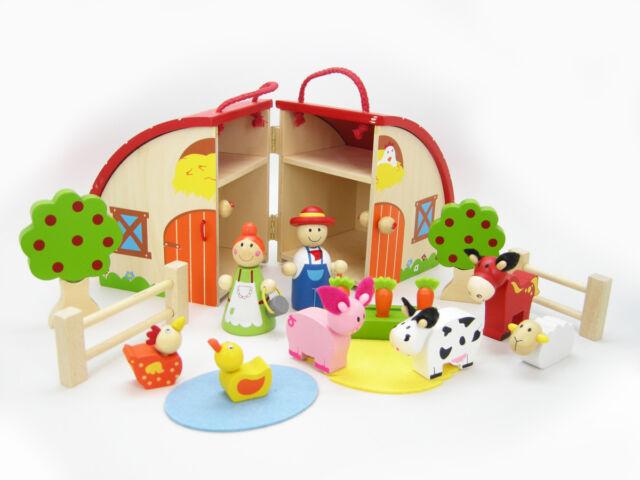 Beautiful Wooden Farm House Pretend Play Set in Barn Case - Animals, Farmer