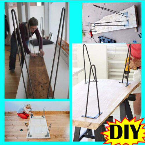SET OF 4 2 3 ROD INDUSTRIAL HAIRPIN DINING//COFFEE TABLE LEGS STOOL//DESK HOT!
