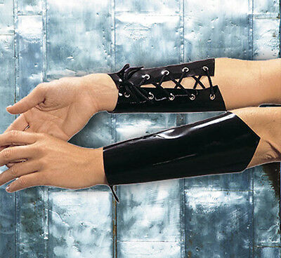 Vinyl Lace Up Arm Guards Fingerless Gloves Wrist Cuffs A-100