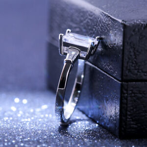 Women-925-Silver-Rings-Emerald-Cut-White-Sapphire-Wedding-Ring-Size-6-10
