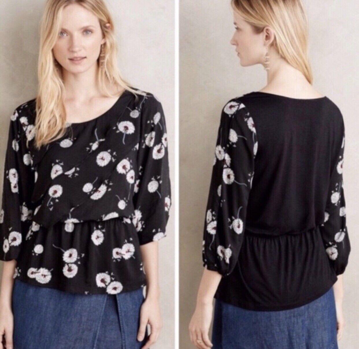 Anthropologie Deletta Shirt Womens XS Top Dandelion Peplum Blouse