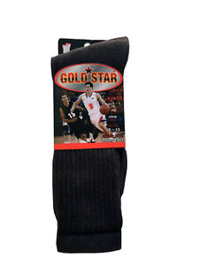 3-6-OR-12-Pairs-Brown-COTTON-Gold-Star-Men-039-s-Crew-Socks-Cushion-Sports-10-13