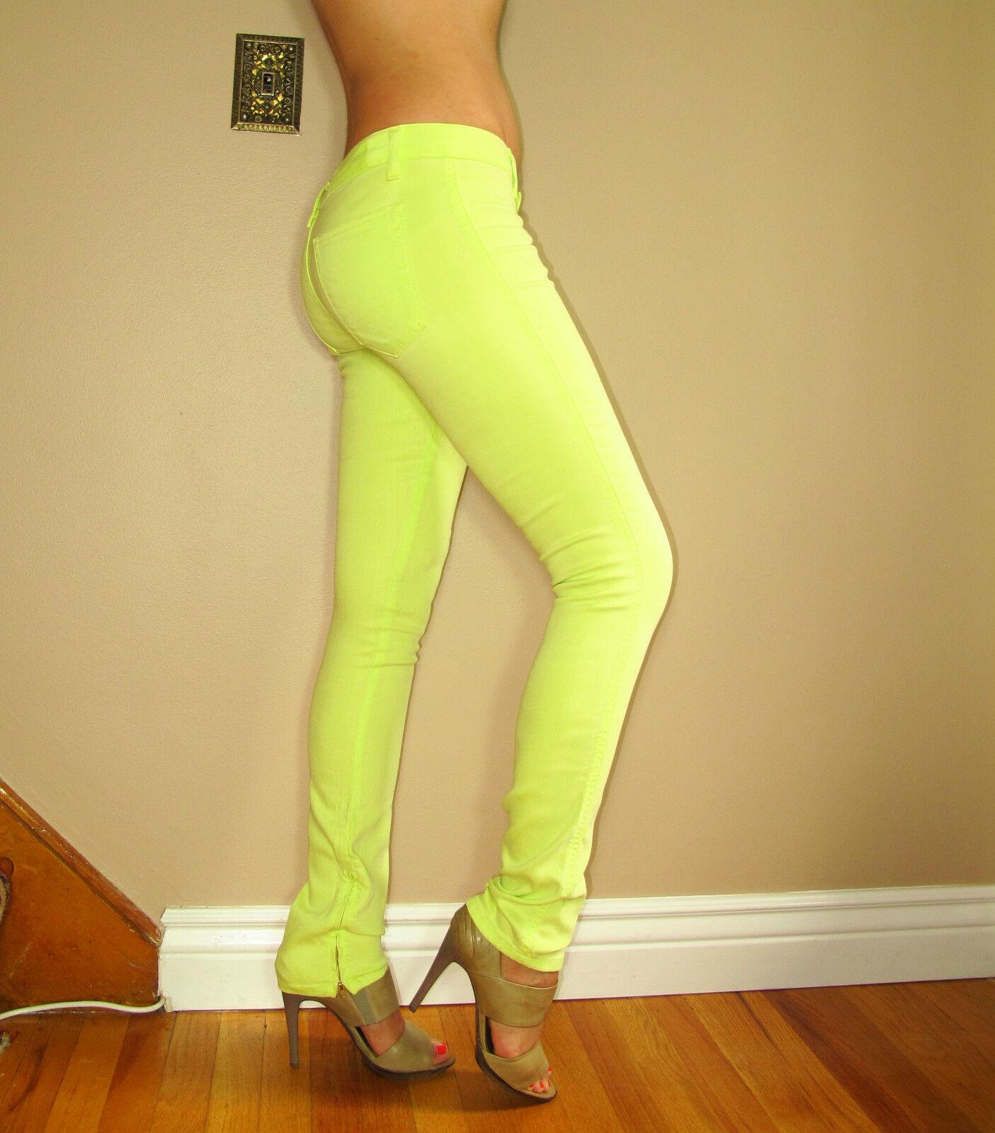 Tessuto Elizabeth&james Mick Aderente Neon verde Lime Zip Jeans Lunghi 26 Nuovo