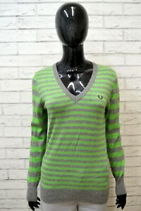 Maglione-FRED-PERRY-Donna-Taglia-M-Pullover-Cardigan-Sweater-Woman-Righe-Lana
