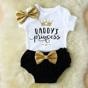 d90923eab9e9 3PCS Cute Newborn Baby Girl Outfits Clothes Tops Romper+Tutu Shorts ...