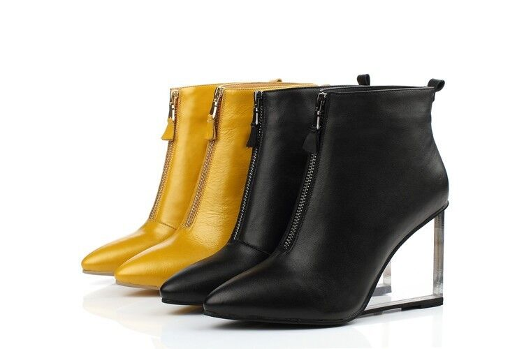 Ladies Real Leather shoes Crystal Wedge High Heels Zip Ankle Boot US Size Zipper