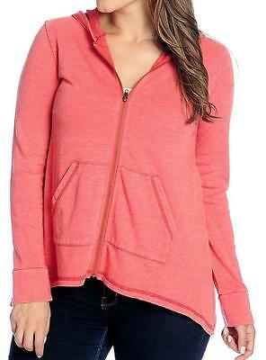 OSO Casuals® French Terry 3//4 Sleeved Uneven Hem Zip Front Hoodie Sz S NEW