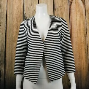 BCNU-3-4-Sleeve-Open-Front-Striped-Blazer-Small