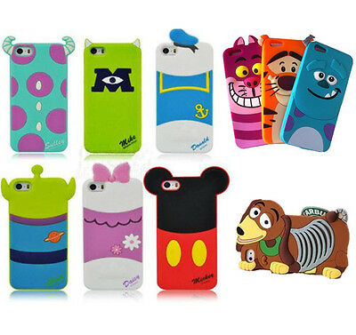 Cute 3D Soft Cartoon Silicone Back Cover Case Skin For iPhone 4S 5/5S 6 & 6 Plus