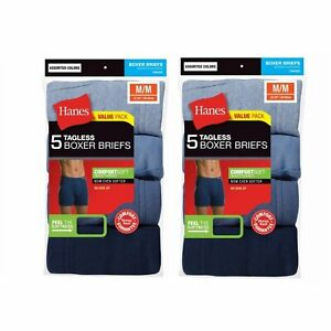 Hanes Men's Tagless Boxer Briefs 10-PACK Underwear S, M, L XL Colors May Vary