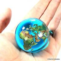 Massive 50mm (2) Aqua Crystal Planet Earth Globe Marble - Orrery Solar System