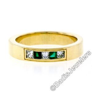 Unisex-18k-Oro-Amarillo-0-33ctw-Diamante-Talla-Princesa-amp-Cuadrado-Emerald