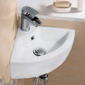 Modern Corner Ceramic Small Cloakroom Basin Wall Hung Hand