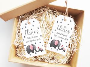 15x Grey Baby Shower Tags Neutral Gender Tags Grey Elephant Mummy Baby Elephant