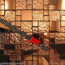 1SF- Copper Metal Pattern Textured Glass Mosaic Tile For Kitchen Backsplash Wall