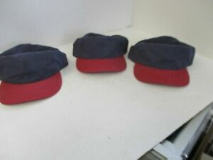 three vintage red hat buttons