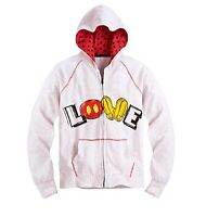 Disney Store Authentic Mickey Mouse Womens love Hoodie Jacket Coat Size Small
