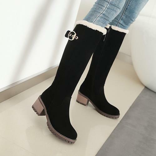 Details about  /41//42//43 Women/'s Punk Low Heel Buckle Zipper Winter Warm Knee High Boots Biker D