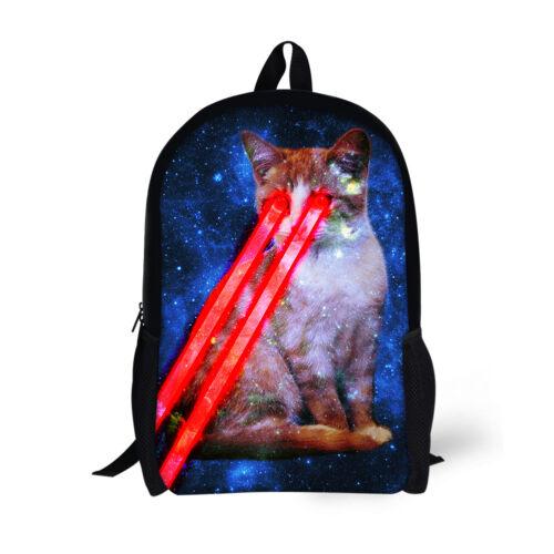 Cool Cat Boys Grils School Bookbag Women Men Shoulder Backpack Laptop Rucksack