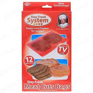 Image Is Loading 12Pc Cold Cut Meat Storage Bags FRESHER FOR