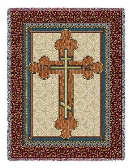 70x53 CELTIC CROSS Knot Shamrock Tapestry Throw Blanket