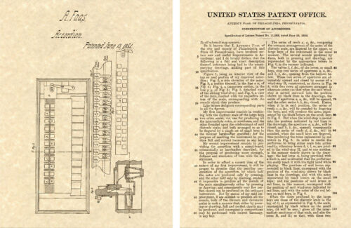 1st ACCORDION US PATENT Art Print 1854 Faas READY TO FRAME! First Accordian
