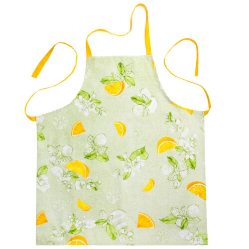 Green Apron with Lemons Print 100/% Natural Cotton Made Russia Spring Easter