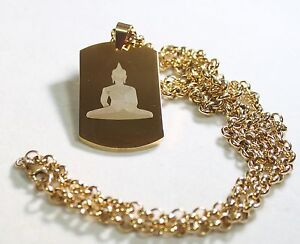 BUDDHA NECKLACE THICK DOG TAG STAINLESS STEEL COLOR GOLD IPG ROLO CHAIN PENDANT