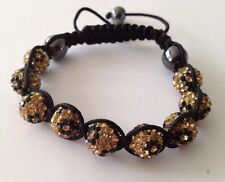 LEOPARD PRINT  MACRAME  SHAMBALLA BRACELET- 9 DISCO BEADS- CZECH CRYSTAL-UK SELL