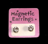 Magnetic Earrings Clear Rhinestone Silver Tone Fun Halloween Ouchless Small