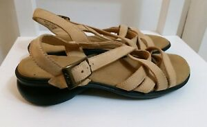 d5ad4dd5060 clarks womens brown faux leather sandals size 4.5 37.5 mid heel ...
