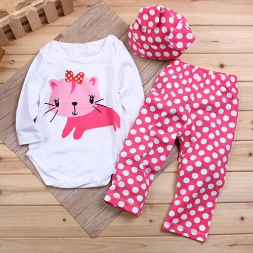 3pcs Newborn Baby Boy Girl Hat Romper Pants Bodysuit Cartoon Outfits Clothes UK