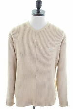 TIMBERLAND Mens Crew Neck Jumper Sweater Large Beige Cotton