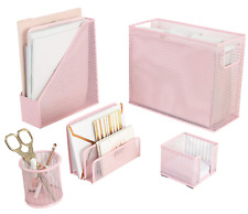Blu Monaco 5 Piece Pink Office Supplies Desk Organizer Set With Hanging File