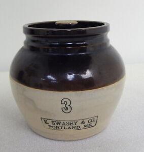 Vintage-No-3-Brown-Glaze-Stoneware-Crock-Covered-Pot-Jug-Swasey-Co-Portland-ME