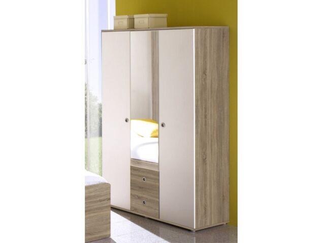 Kleiderschrank WIKI 3 Tür Schrank Spiegel Kinderzimmer Jugendzimmer Sonoma  Weiß