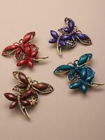 BEAUTIFUL CRYSTAL GILT TONE BUTTERFLY BROOCH PIN RED AMBER PURPLE BLUE WEDDINGS