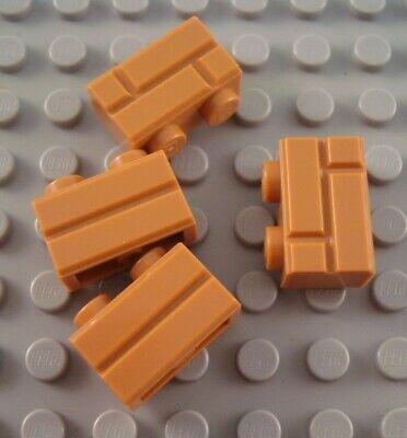 New LEGO Lot of 4 Medium Dark Flesh 1x1 Specialty Bricks with Vertical Side Clip