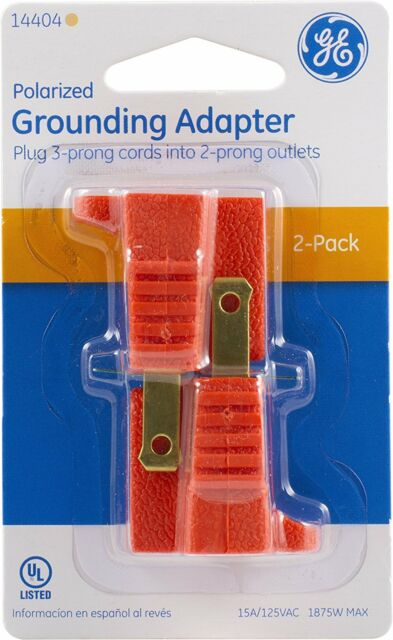 New Ge 14404 Polarized Grounding Adapter  Orange 2 Pack Plug 3 To 2 Prong Outlet
