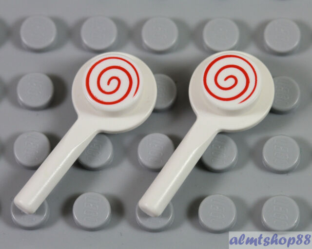 NEW Lego Minifig Candy RED LOLLIPOP Friends White w//Swirl Tile Kitchen Food
