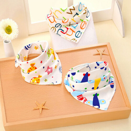 Baby Bibs Cartoon Triangle Double Layered Cotton Character Animal Bandana New